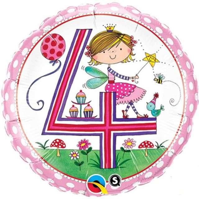"""Balon foliowy 18"""" - 4 urodziny dla dziewczynki"""