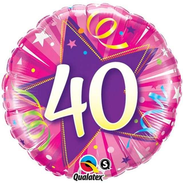 """Balon foliowy """"Urodziny 40 Pink Star"""", Qualatex, 18"""""""
