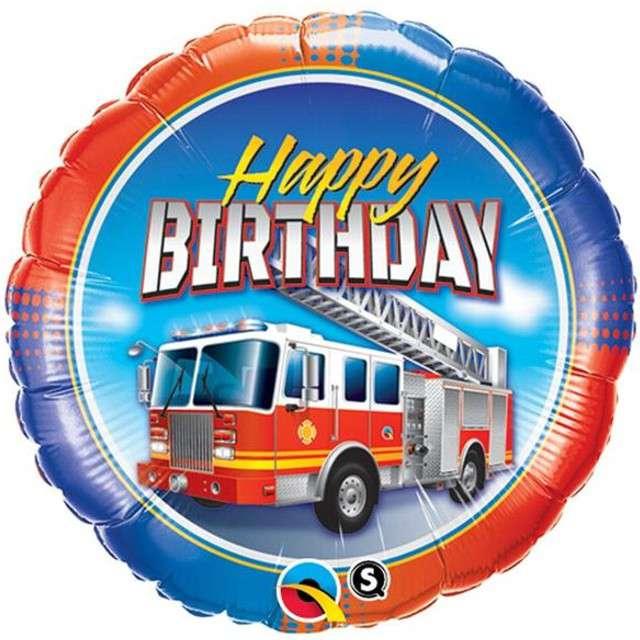 """Balon foliowy 18"""" Straż pożarna happy birthday"""