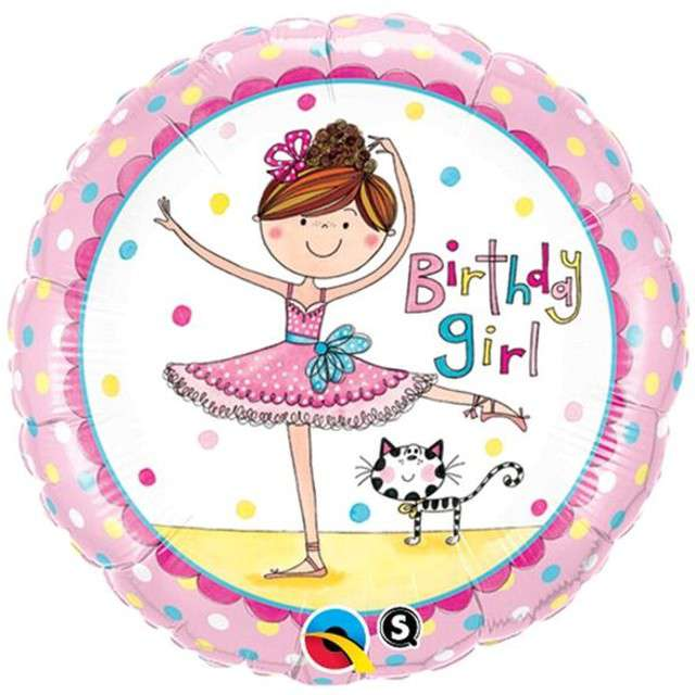 "Balon foliowy 18"" Birthday Girl baletnica"