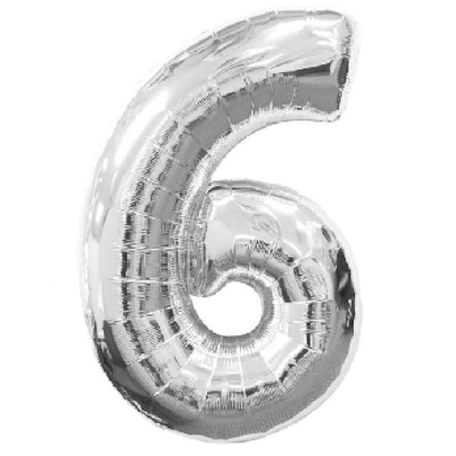 """Balon foliowy cyfra 6, 34"""", AMSCAN, srebrny"""