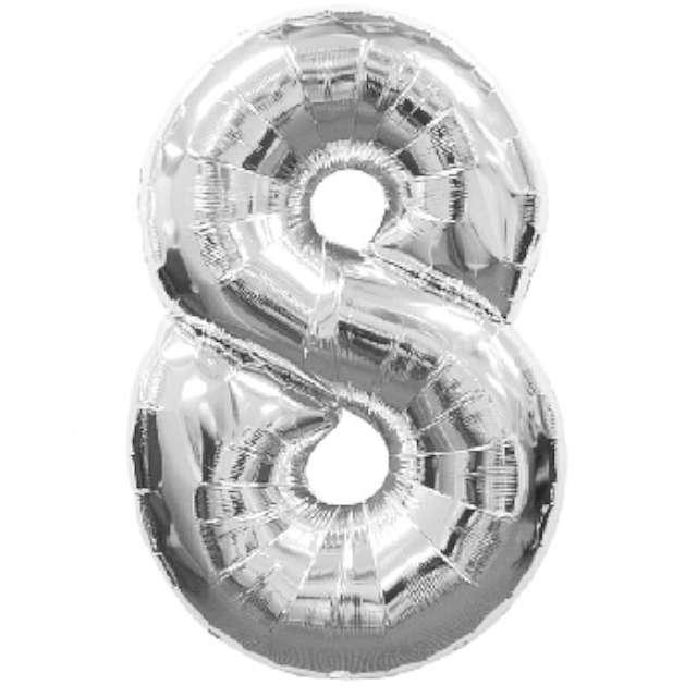 """Balon foliowy cyfra 8, 34"""", AMSCAN, srebrny"""