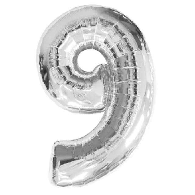"""Balon foliowy cyfra 9, 34"""", AMSCAN, srebrny"""