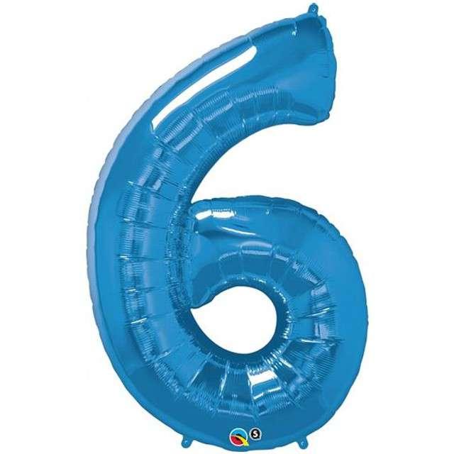 "Balon foliowy cyfra 6, 42"", QUALATEX, niebieski"