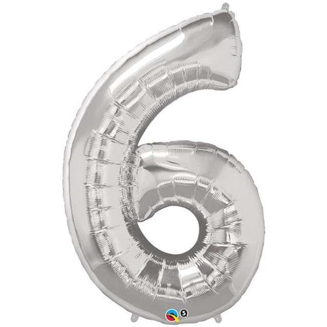 """Balon foliowy cyfra 6, 42"""", QUALATEX, srebrny"""