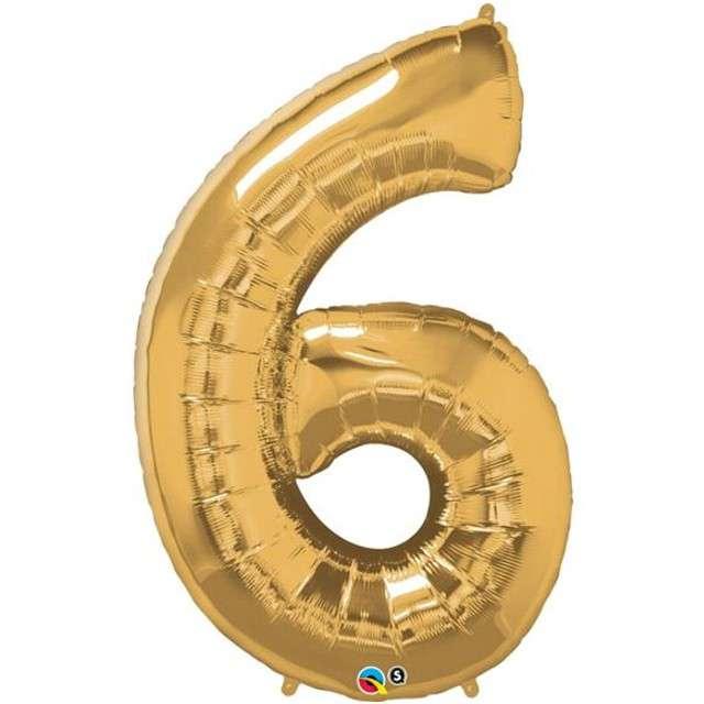 """Balon foliowy cyfra 6, 42"""", QUALATEX, złoty"""