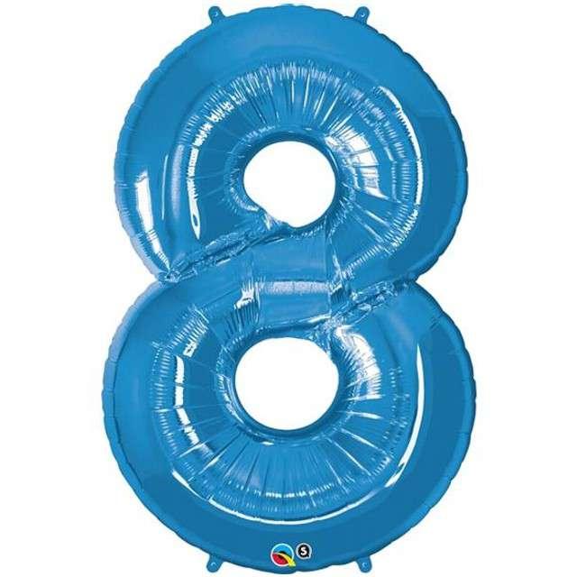 "Balon foliowy cyfra 8, 42"", QUALATEX, niebieski"