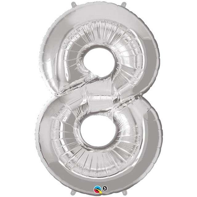 """Balon foliowy cyfra 8, 42"""", QUALATEX, srebrny"""