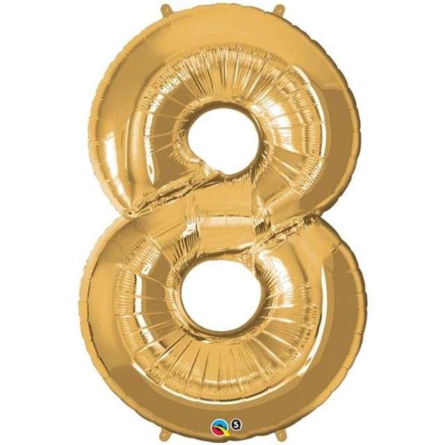 """Balon foliowy cyfra 8, 42"""", QUALATEX, złoty"""
