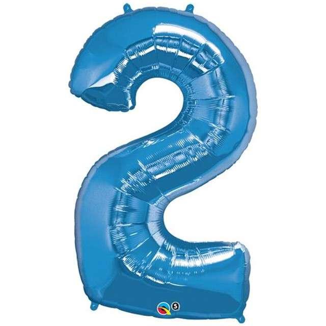 "Balon foliowy cyfra 2, 43"", QUALATEX, niebieski"