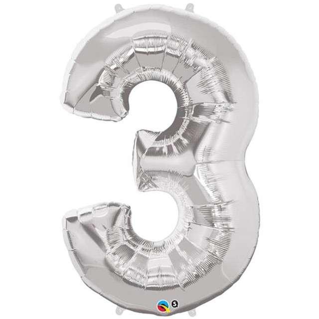 """Balon foliowy cyfra 3, srebrny, QUALATEX, 44"""""""
