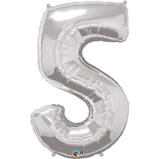 """Balon foliowy cyfra 5, 44"""", srebrny"""