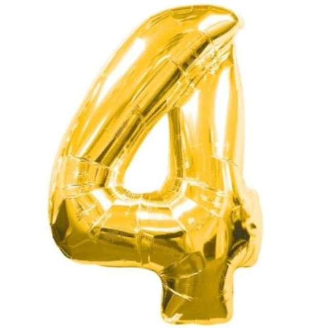 """Balon foliowy cyfra 4, 34"""", AMSCAN, złoty"""
