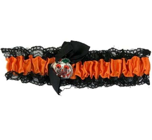 """Podwiązka """"Halloween z dynią"""", czarno-pomarańczowa, GoDan"""