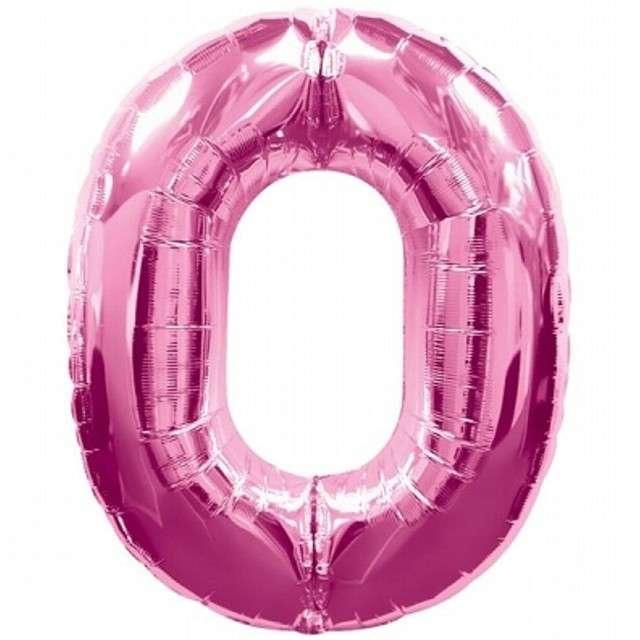 """Balon foliowy cyfra 0, 34"""", różowy"""
