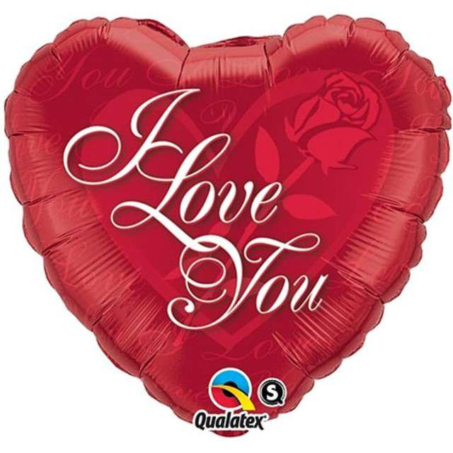"Balon foliowy 18"" I Love You na róży serce"
