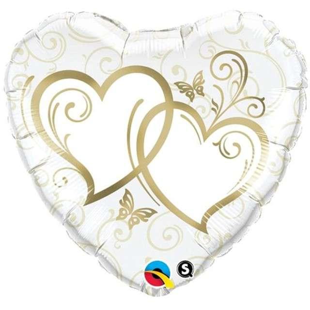 """Balon foliowy """"Splecione serca"""", QUALATEX, 18"""" HRT"""