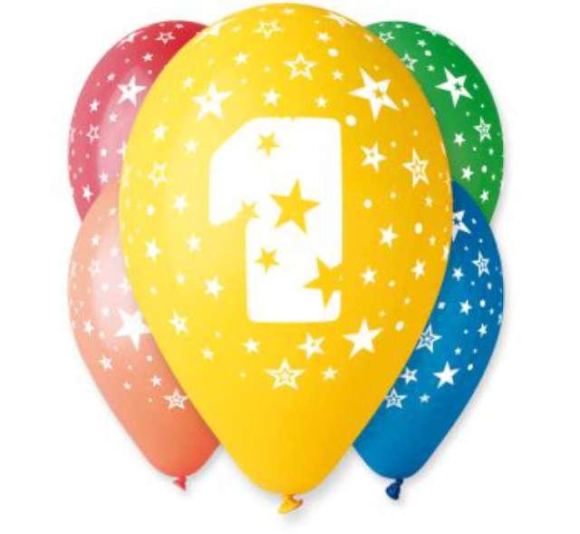 """Balony 12"""", """"Liczba  1"""", GEMAR, pastel mix, 5 szt"""