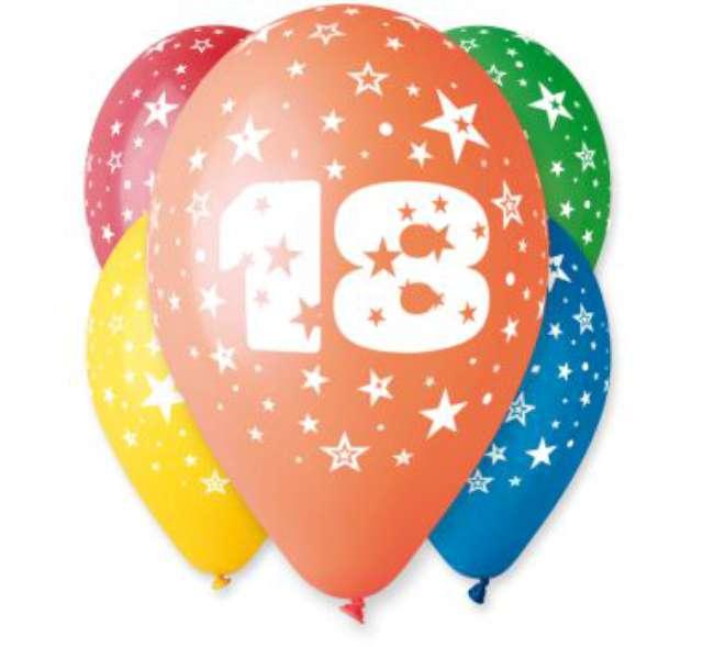 """Balony 12"""", """"Liczba 18"""", GEMAR, pastel mix, 5 szt"""