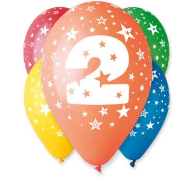 """Balony 12"""", """"Liczba  2"""", GEMAR, pastel mix, 5 szt"""