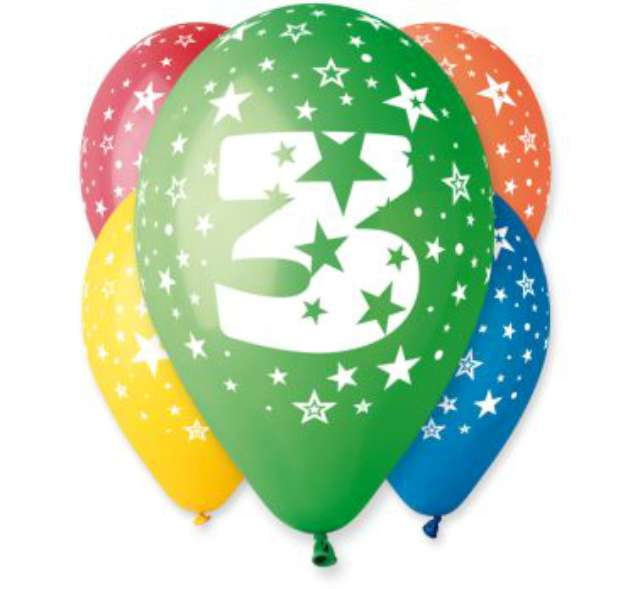 """Balony 12"""", """"Liczba  3"""", GEMAR, pastel mix, 5 szt"""