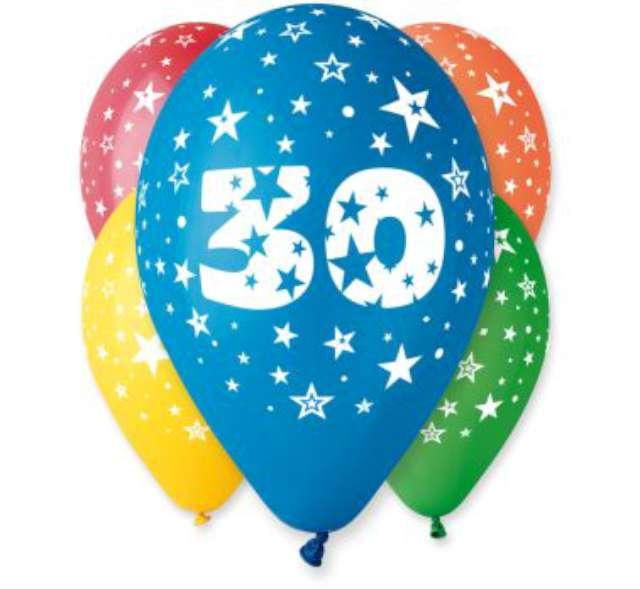 """Balony 12"""", """"Liczba 30"""", GEMAR, pastel mix, 5 szt"""