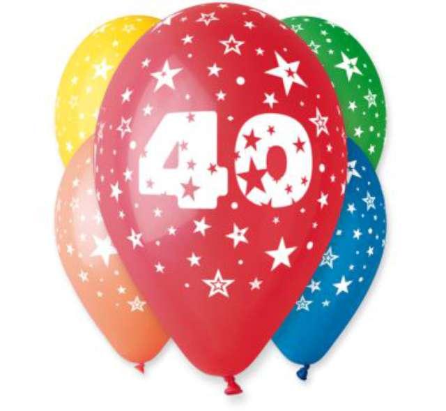 """Balony 12"""", """"Liczba 40"""", GEMAR, pastel mix, 5 szt"""