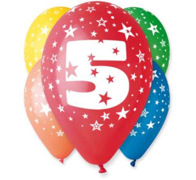 """Balony 12"""", """"Liczba  5"""", GEMAR, pastel mix, 5 szt"""