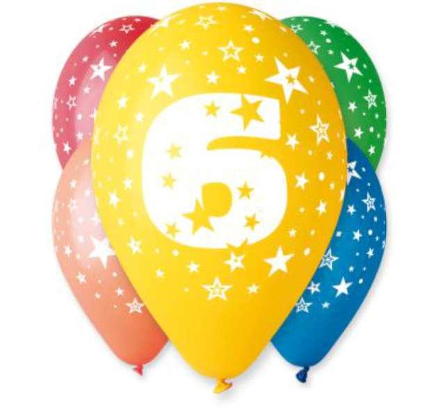 """Balony 12"""", """"Liczba  6"""", GEMAR, pastel mix, 5 szt"""