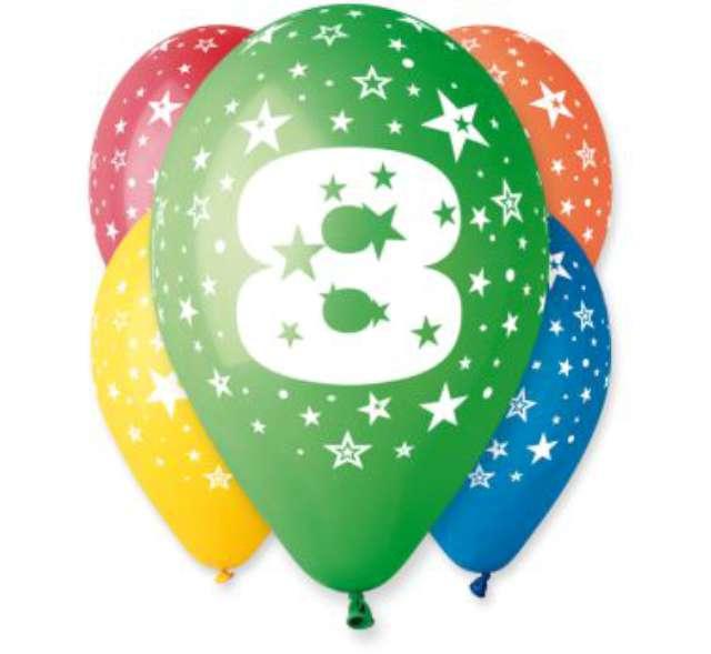 """Balony 12"""", """"Liczba  8"""", GEMAR, pastel mix, 5 szt"""