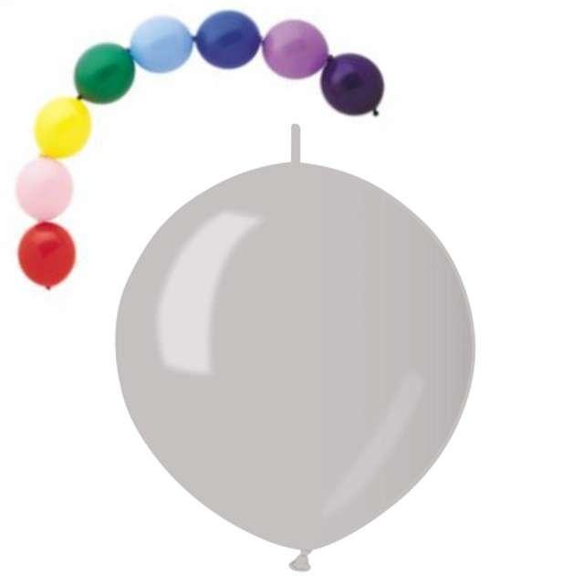 """Balony 13"""" Metalik z łącznikiem GEMAR Srebrne 100 szt"""