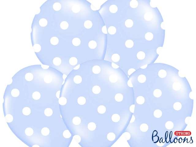 "Balony 14"", ""Kropki"" Pastel Baby Blue, STRONG, 6 szt"
