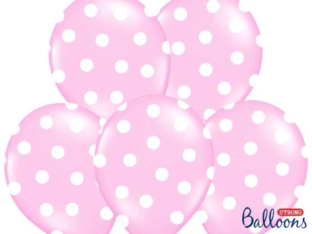 "Balony 14"", ""Kropki"" Pastel Baby Pink, STRONG, 50 szt"