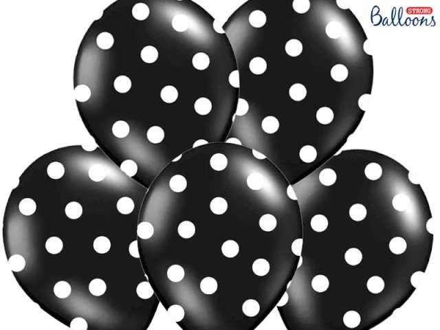 """Balony 14"""", """"Kropki"""" Pastel Black, STRONG, 6 szt"""