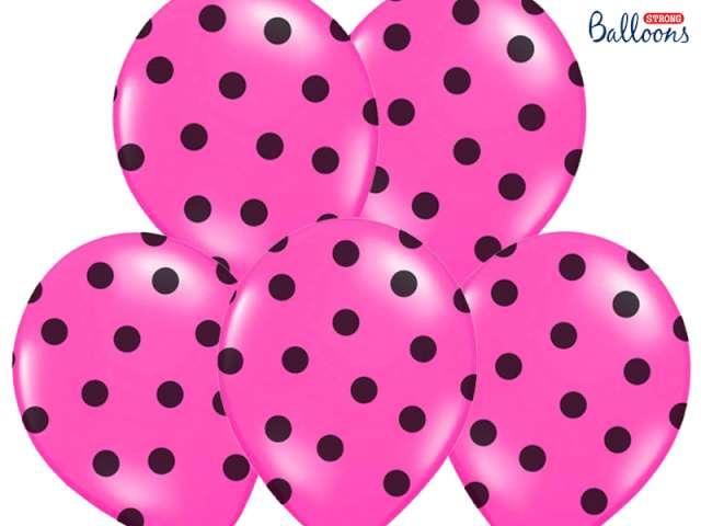"""Balony 14"""", """"Kropki"""" Pastel Hot Pink, STRONG, 50 szt"""