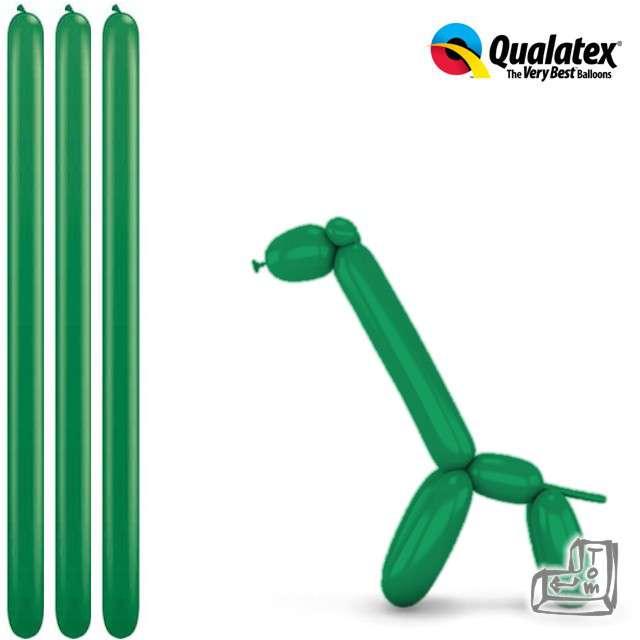 Balony modeliny QUALATEX 260 zielone, 100 szt