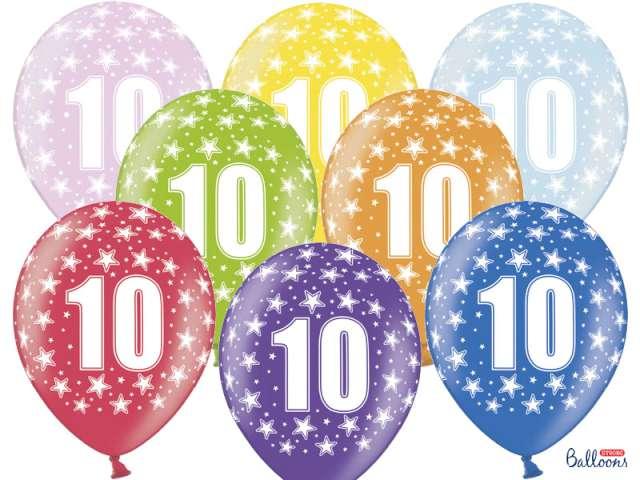 """Balony 14"""", """"Liczba 10"""", STRONG, metallic mix, 6 szt"""
