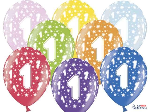 """Balony 14"""", """"Liczba  1"""", STRONG, metallic mix, 6 szt"""