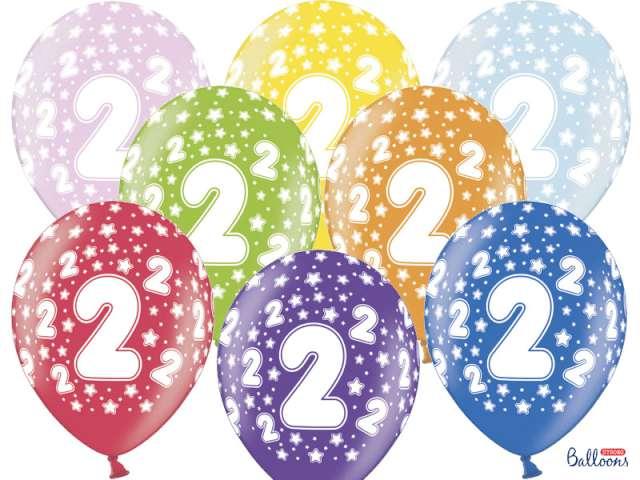 """Balony 14"""", """"Liczba  2"""", STRONG, metallic mix, 6 szt"""