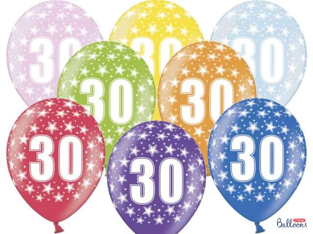 """Balony 14"""", """"Liczba 30"""", STRONG, metallic mix, 6 szt"""