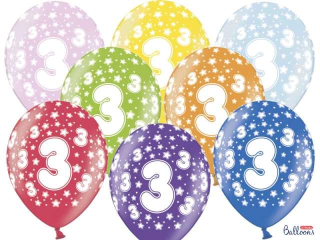 """Balony 14"""", """"Liczba  3"""", STRONG, metallic mix, 50 szt"""