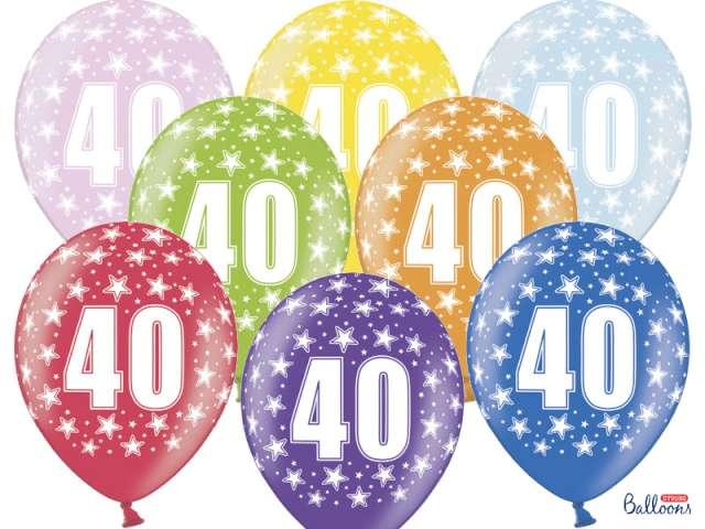 """Balony 14"""", """"Liczba 40"""", STRONG, metallic mix, 6 szt"""