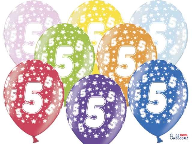 """Balony 14"""", """"Liczba  5"""", STRONG, metallic mix, 6 szt"""