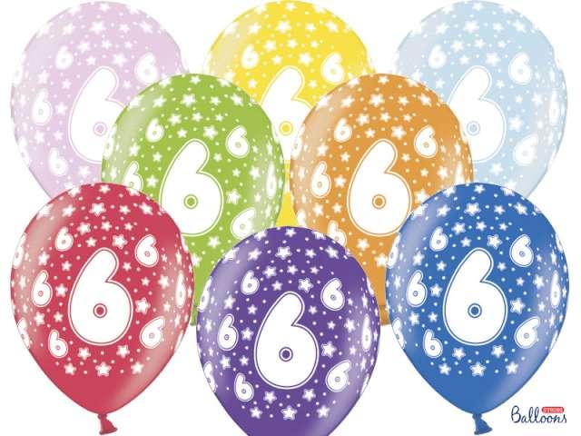 """Balony 14"""", """"Liczba  6"""", STRONG, metallic mix, 50 szt"""