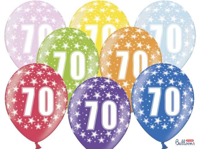"""Balony 14"""", """"Liczba 70"""", STRONG, metallic mix, 6 szt"""