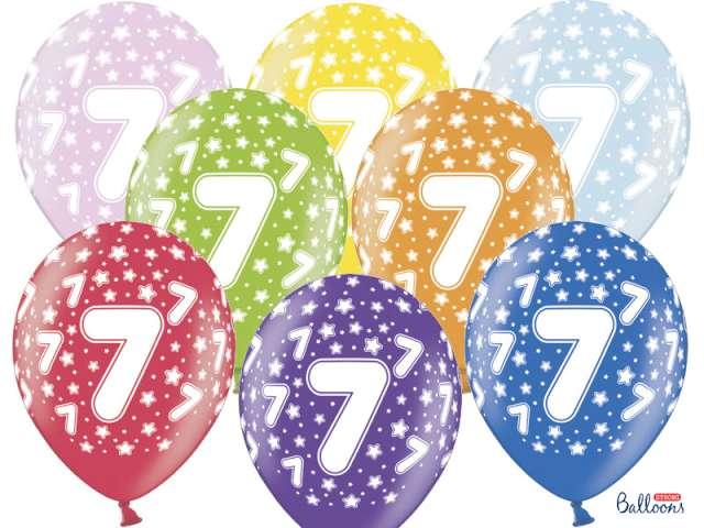 """Balony 14"""", """"Liczba  7"""", STRONG, metallic mix, 6 szt"""
