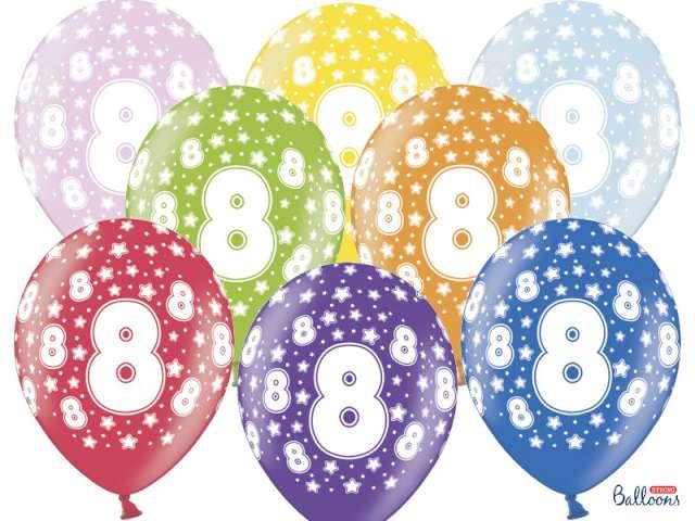 """Balony 14"""", """"Liczba  8"""", STRONG, metallic mix, 6 szt"""