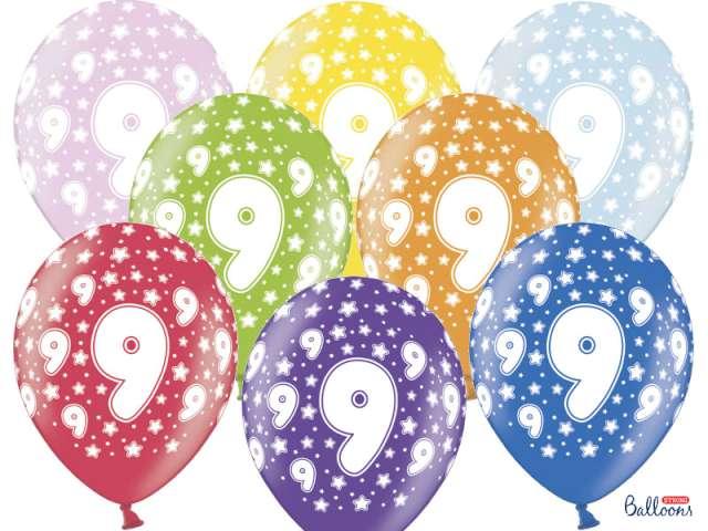 """Balony 14"""", """"Liczba  9"""", STRONG, metallic mix, 6 szt"""