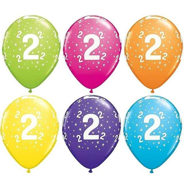 "Balony 11"", ""Liczba  2"", QUALATEX, pastel mix tropik, 25 szt"