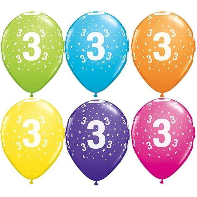 "Balony 11"", ""Liczba  3"", QUALATEX, pastel mix tropik, 25 szt"